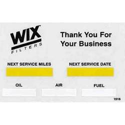 WIX Oil Change Decal