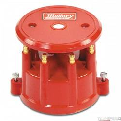 Mallory Cap Dist 8Cyl Screw Down Red