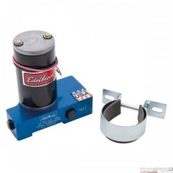 ELECTRIC FUEL PUMP CARBURATED APP 120 GPH EDELBROCK ENGRAVED BLUE ANODIZED FINIS