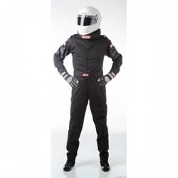 RaceQuip One Piece Single Layer Racing Driver Fire Suit, SFI 3.2A/ 1 , Black Medium