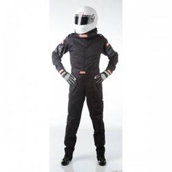 RaceQuip One Piece Single Layer Racing Driver Fire Suit, SFI 3.2A/ 1 , Black Med-Tall