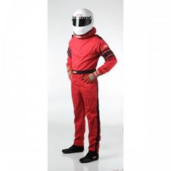 RaceQuip One Piece Single Layer Racing Driver Fire Suit, SFI 3.2A/ 1 , Red X-Large