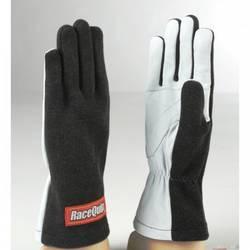 RaceQuip 350 Series 1 Layer Nomex Non SFI Basic Race Gloves, Black Medium