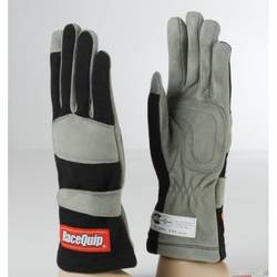 RaceQuip 351 Series 1 Layer Nomex Race Gloves SFI 3.3/ 1 Certified, Black Medium