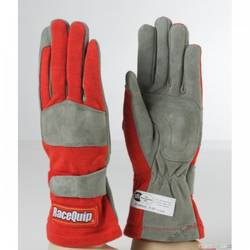 RaceQuip 351 Series 1 Layer Nomex Race Gloves SFI 3.3/ 1 Certified, Red Medium