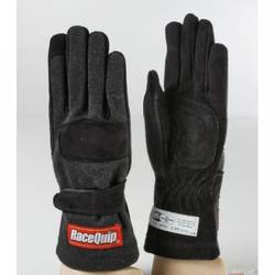 RaceQuip 355 Series 2 Layer Nomex Race Gloves SFI 3.3/ 5 Certified, Black Large