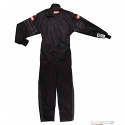 RaceQuip One Piece Single Layer Racing Driver Fire Suit SFI 3.2A/ 1, BLACK TRIM Youth / Jr Small