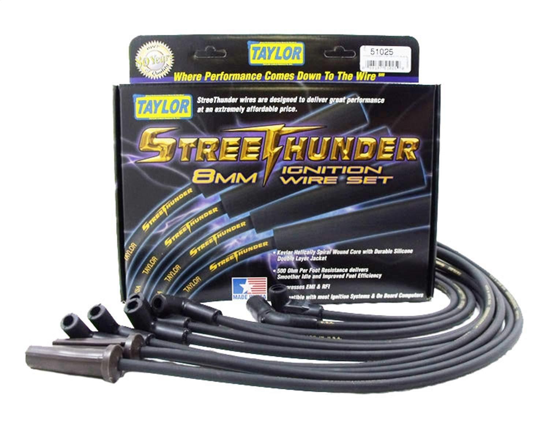 Taylor Spark Plug Wire Set 50053; Street Thunder 8mm Black 135° Universal V8